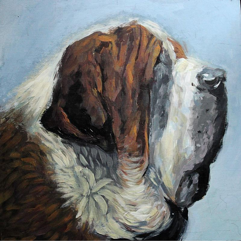 Acrylic painting on a 10x10 wooden panel with a portrait of saint bernard and a light blue background