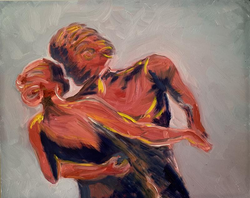 A painting of a couple who could be dancing the Waltz. The details of their bodies is less important than the positions of the tow bodies and the shadows they project.