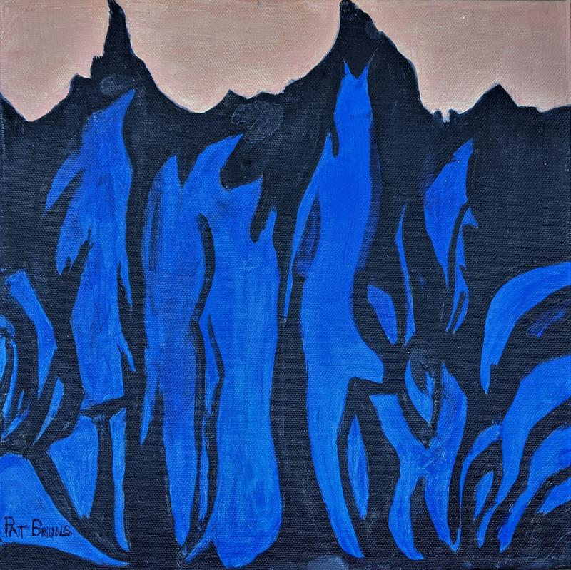 THE PAINTING OF SNOW PATCHES ON THE SIDE OF A MOUNTAIN GIVES A FEELING OF DEPTH ENHANCED BY THE DEEP BLUE COLOR.