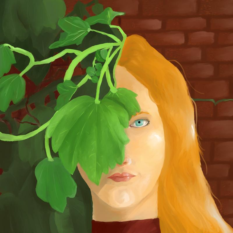 A woman stands in front of a red brick wall, her hair/body sprouting into bright green ivy as the background bricks become covered by darker, shadowed ivy.