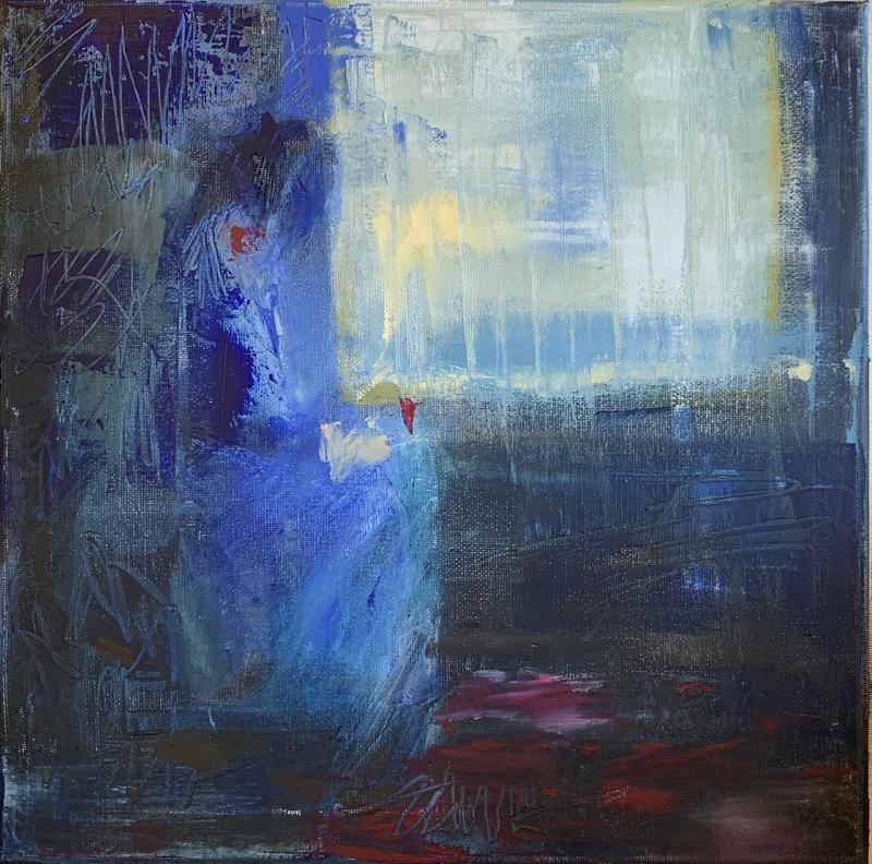 Abstract figurative painting in blue tones and textures