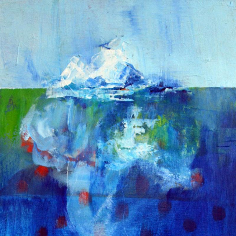 An abstract painting of a melting iceberg surrounded by water and land. You can begin to see its hidden mass below the surface.