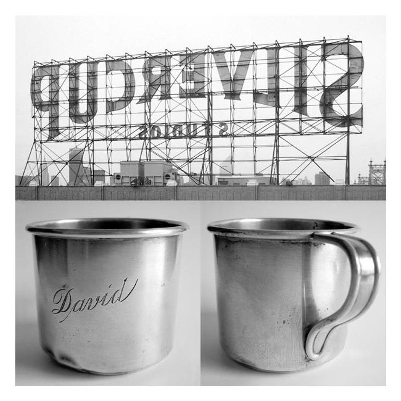 a photograph of the verso of the Silver Cup Studios sign in Long Island City, Queens, NY and two photos of the artist's childhood silver cup
