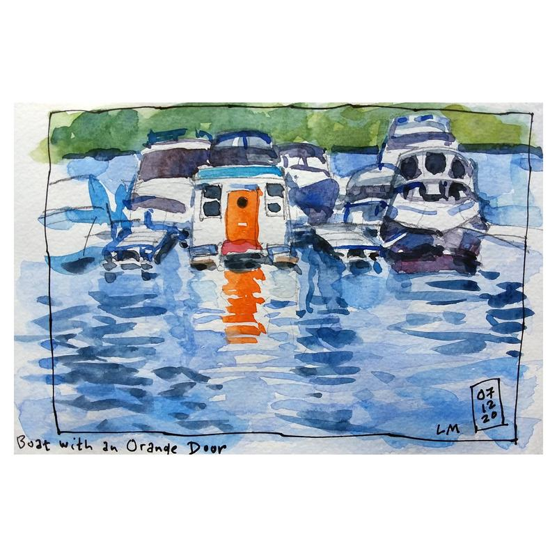 A loose watercolor sketch of small boats. One boat has a bright orange door that is reflected in the water.