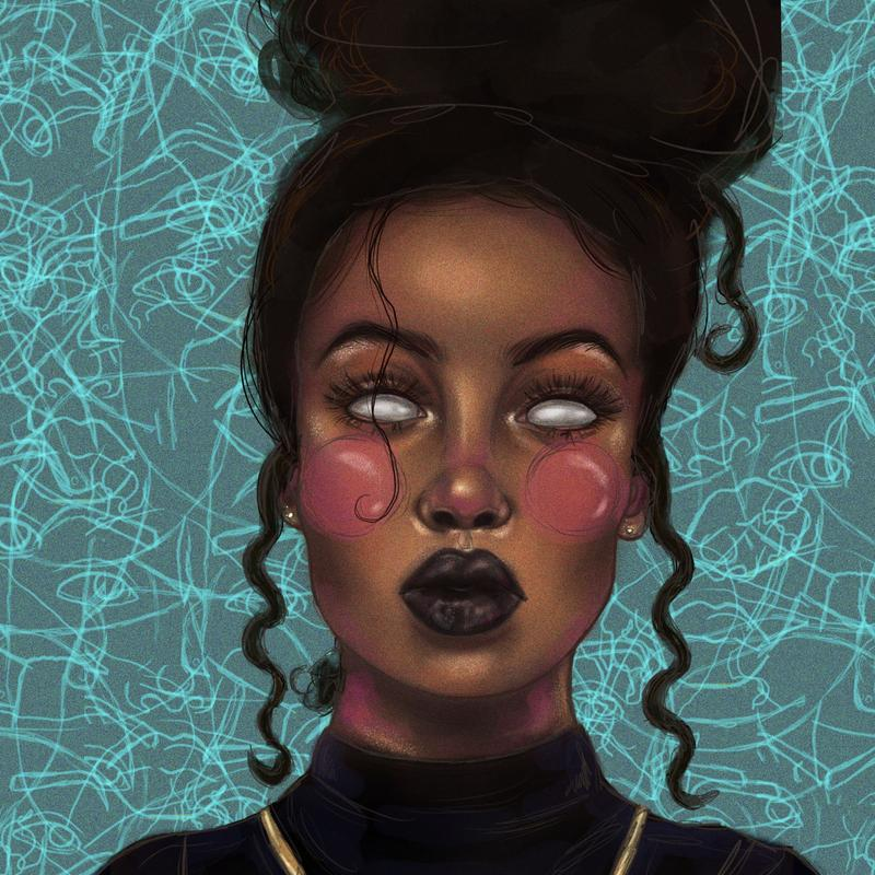 A stylized portrait illustration of a black woman wearing a black turtle neck and black lipstick with her dark curly hair in a bun. She is missing her irises. The background is teal with a collage of lighter teal line drawings of the subject of the portrait.