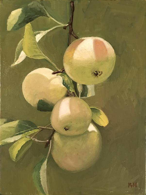 A painting of yellow apples on the tree with sun-dappled lighting.