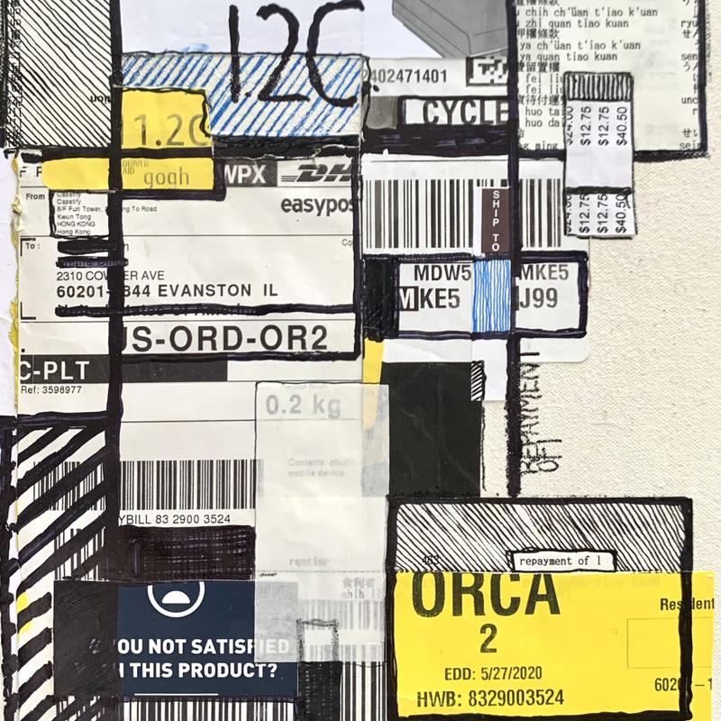 A collage of packaging labels, instruction manuals, and Chinese dictionary text with repetitive and variant angular lines. Much of the wieght is pulled to the bottom right corner with a large yellow packaging sticker.