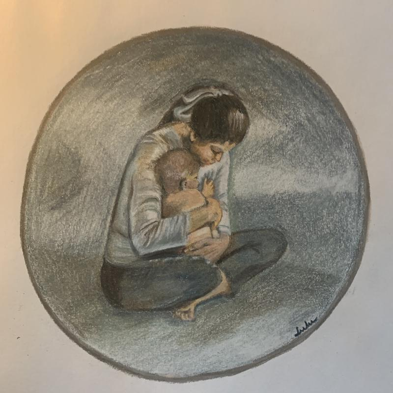 A drawing of a woman, cross-legged on the floor, hugging her baby in a warm embrace. The gold circle echoes the womb's protective barrier.