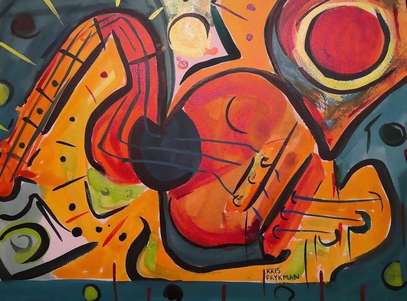 Visual sound echoes in colors of red-orange circles, lime green, teal and black, while a horizontally stretched abstracted guitar embodies the canvas in shades of orange, gold, red, teal, that pulsate as if you are tuned in, listening to your favorite melody.