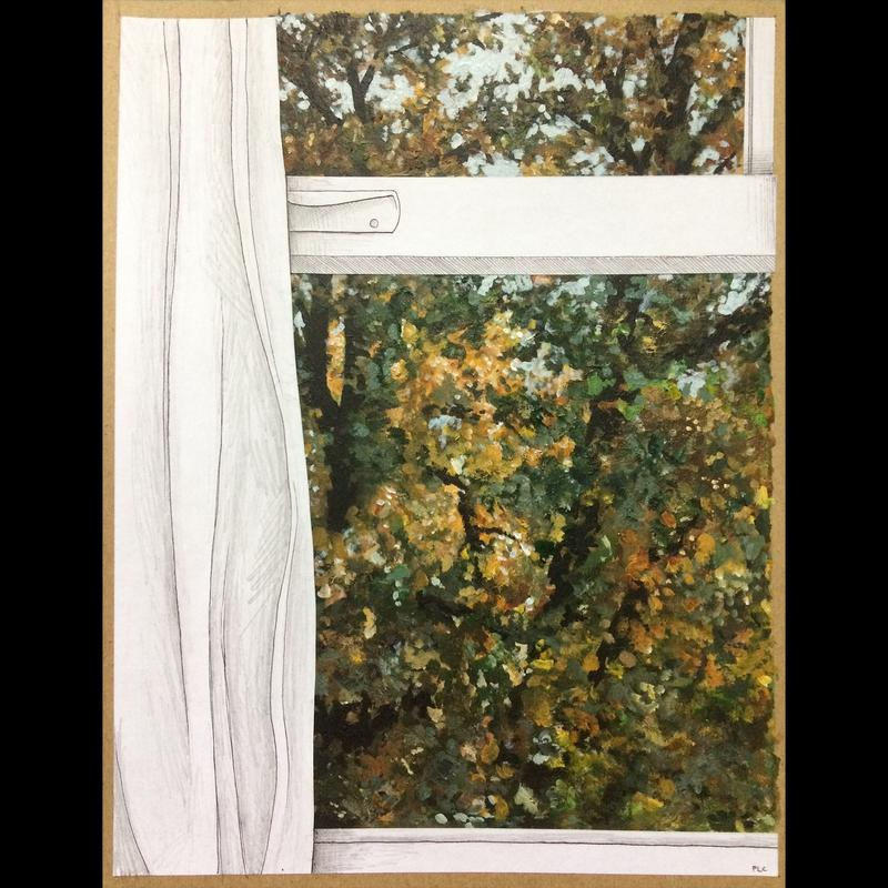 Part of a large oak tree starting to turn fall colors, seen through a white window frame and curtain.