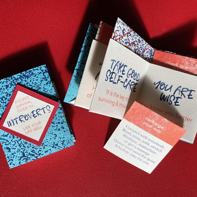 """A small book in light blue, navy, and red reads """"Pocket Survival Guide for Introverts Live Your Life Well"""". Another copy is opened to reveal pockets with pull out pages, one reads, """"TAKE GOOD SELF-CARE It is the key to surviving and thriving""""."""