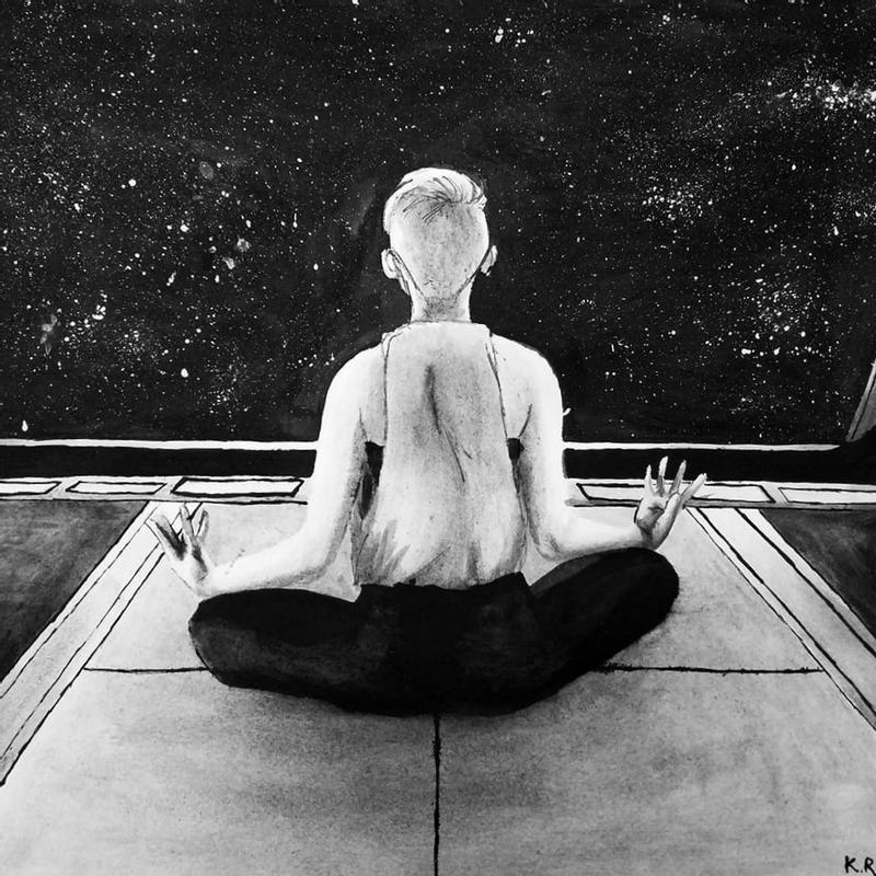 A painting in ink and acrylic of a person meditating in space.