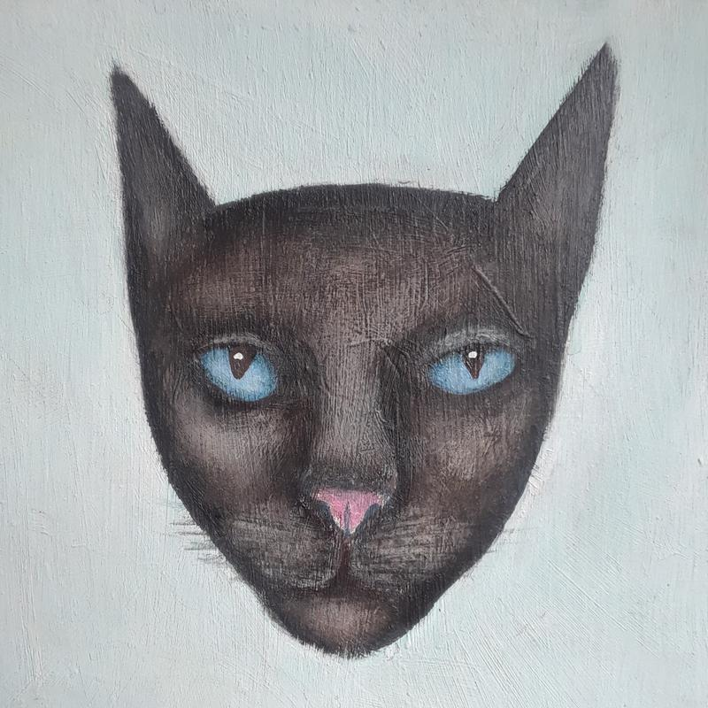 The painted head of a black cat floats over a turquoise background.