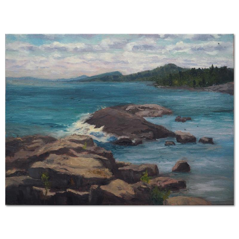 A painting done on location in Grand Marais, MN.  The view is from the rocks with the Sawtooth Mountains in the background. One interesting fact, since it was done on location, you can see small bugs that are stuck in the paint.