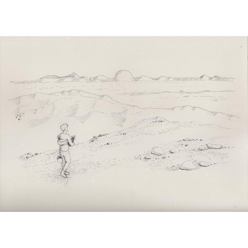 A black and white pen drawing of a desert or Martian landscape. One figure sets off towards the horizon carrying two pineapples and a helmet.