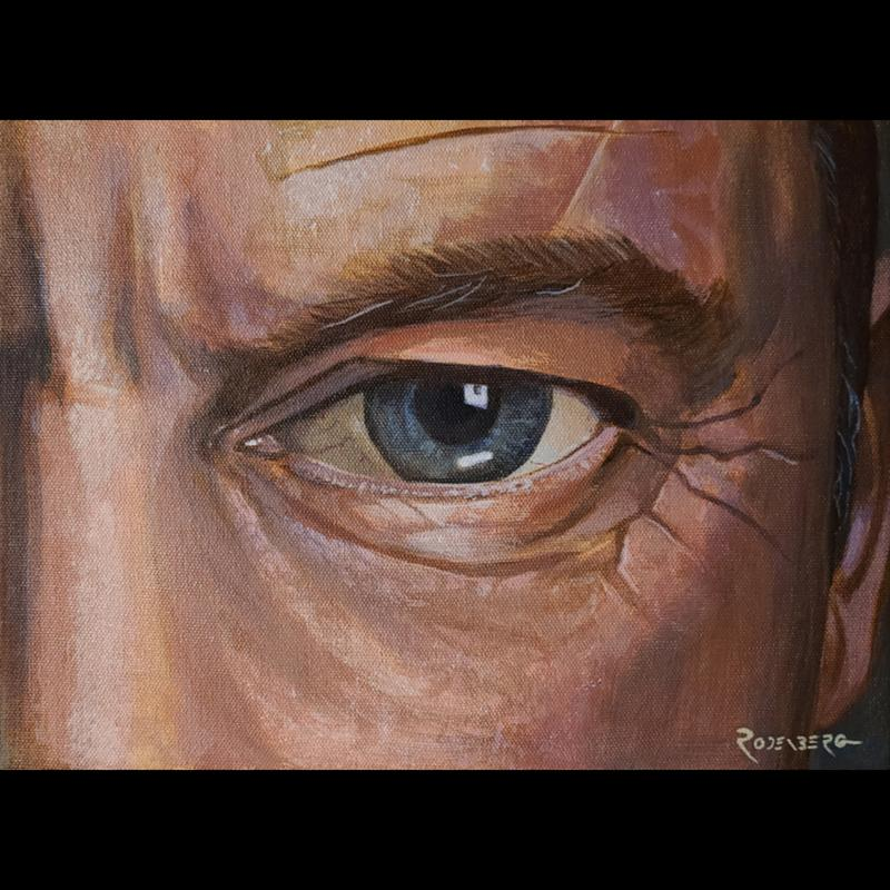 A painting of a man's eye close-up, looking at the viewer.