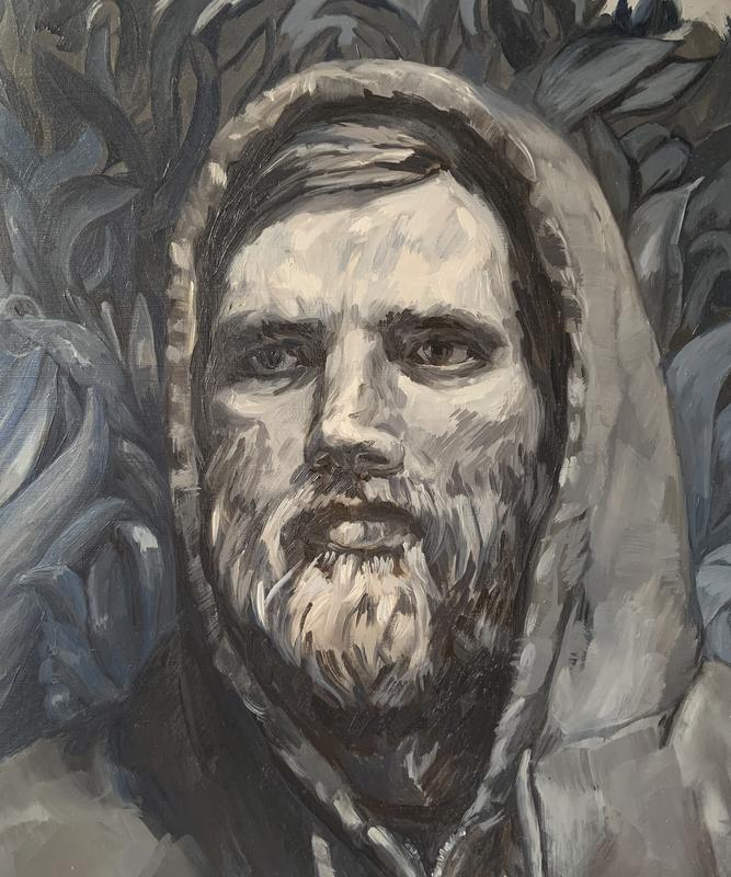 A painting in shades of gray of a bearded man in a hoodie's head and shoulders, his gaze looks out to the left. He is a setting of sharp-looking foliage.