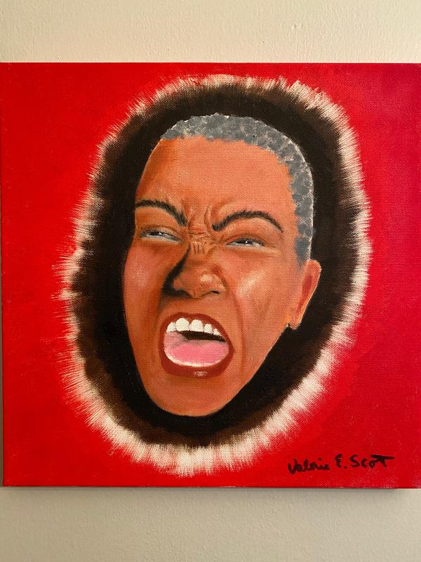 A painting of a face of an older woman of color expressing rage and disappointment, emerging from a dark espresso halo ending in a flash of white against a brilliant red background.