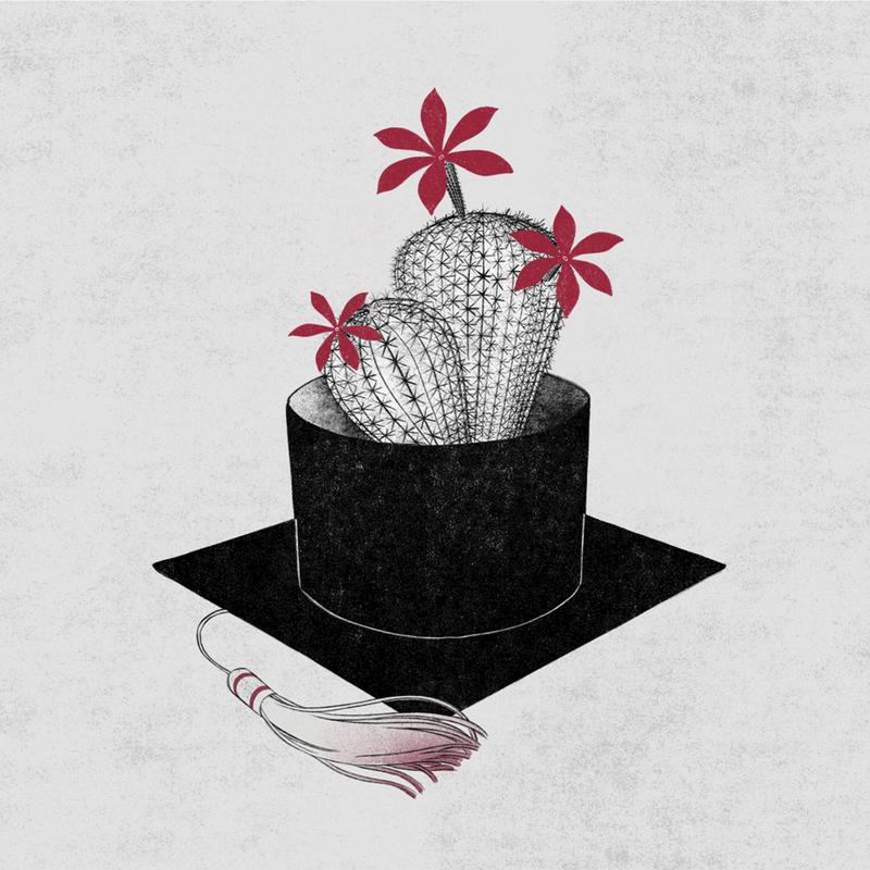 Because of the great changes in the world in 2020, many seemingly fixed life paths are changed this year. As a student who graduates this year, I feel more anxious and confused. So, I made this illustration to describe my feeling about graduate in 2020. I draw the graduation hat and the cactus in black and white which means the frustrating feeling of 2020. And the flower on the cactus colored pink which means hope.