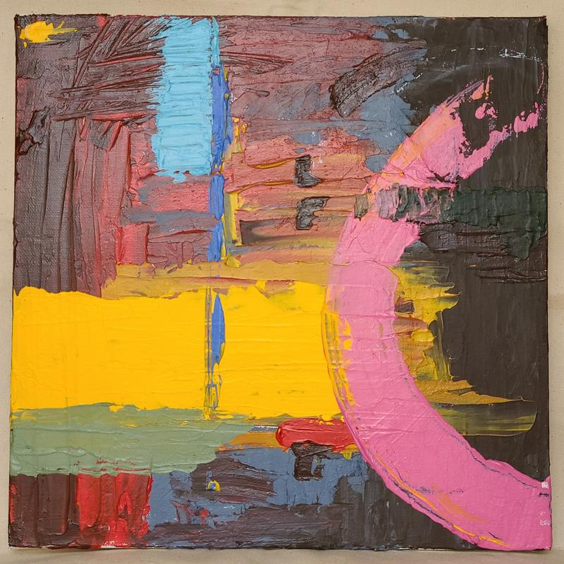 An abstract painting, brown and red in the background, with thick stripes of brighter blues and yellow in the midground, and a pink semicircle stroke in the foreground.