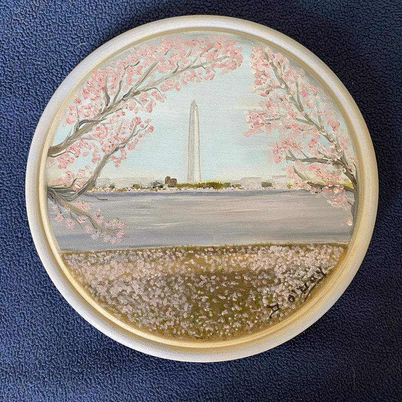 "Painting on 8"" wooden plate, of the Washington Monument"