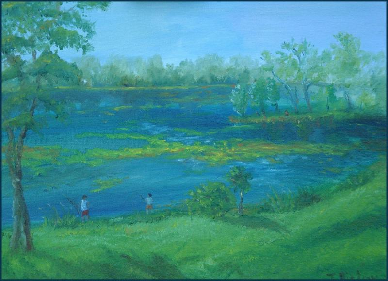 A plein air painting of Keller Lake in the spring, lush with chartreuse colored lily pads floating in deep blue water.  Green trees along the lake shore fade to silver and blue against a blue sky.  A fresh green lawn slopes to the lake's edge, where two boys cast fishing lines into the flooded waters.