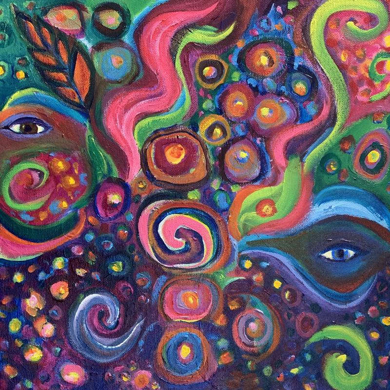 An abstract painting of mysterious eyes looking out among glowing, multi-colored, stars in a sky filled with lively swirls, leaves and spirals. Painting #2 in Unconditional Love series.