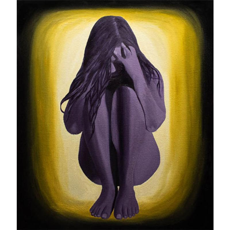 A painting of a naked purple girl sitting down, covering her face with her hands. Yellow and black surrounding her in a spiral.