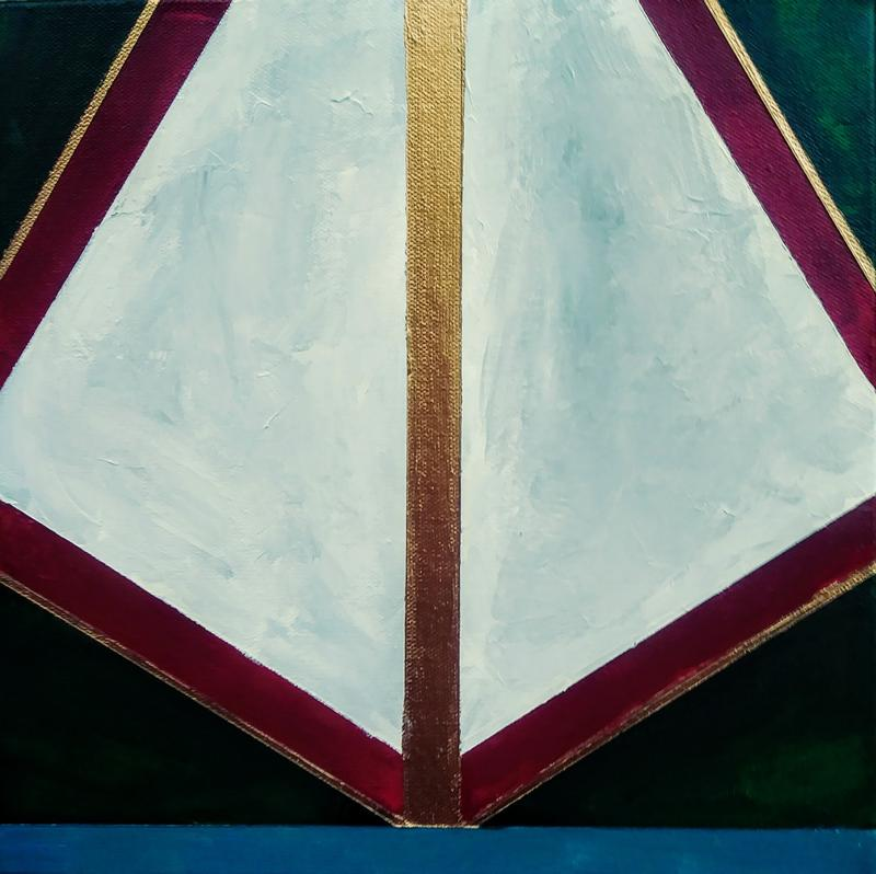 A painting featuring a light-gray, asymmetrical rhombus that is broader at the bottom. The rhombus shape is bisected vertically by a band of gold and is bordered by parallel bands of crimson, gold, and dark green running towards the  four corners of the canvas. A band of teal runs across the bottom.