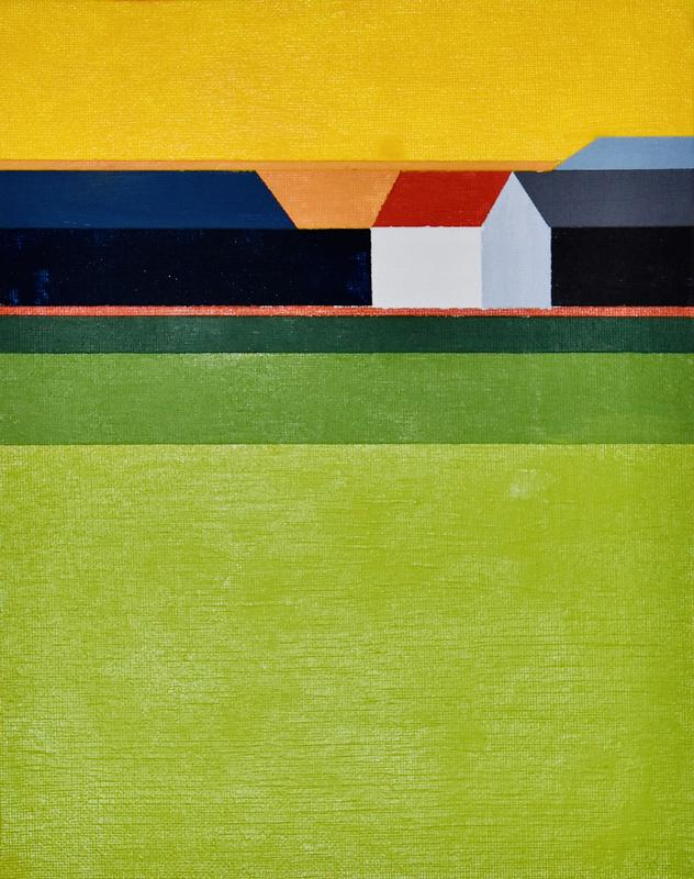 Colorfield abstraction of a landscape painting of a White House with a red roof on green fields and yellow sky.