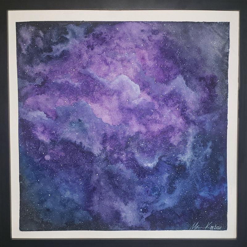 a painting of a nebula that is purple and blue