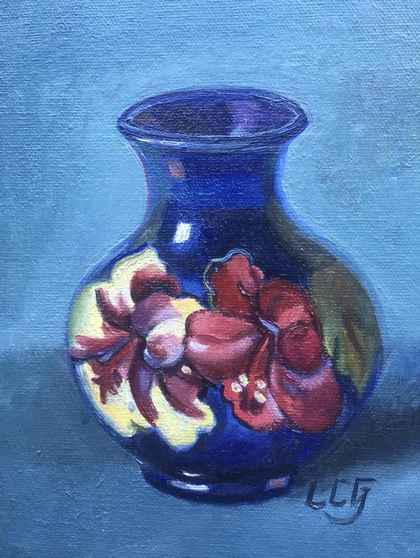 Oil still life of moor craft pottery on canvas - deep blue with anemones - with cerulean blue background