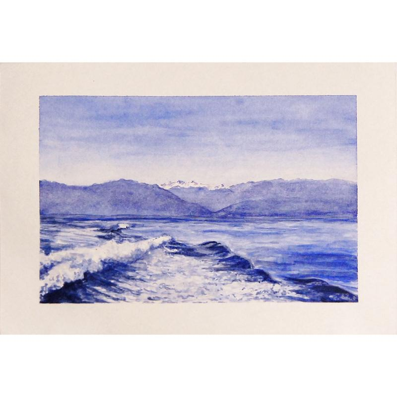 A blue monochromatic watercolor painting of a wave in the foreground of a body of water and layers of mountains in the background, with snowcaps in distance  The sky above is a gradient from dark at the top to pale blue above the mountains.