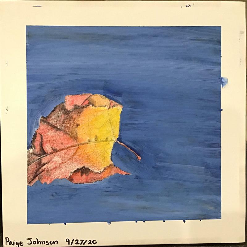A painting of a colorful falling leaf in fall with a sky blue background.
