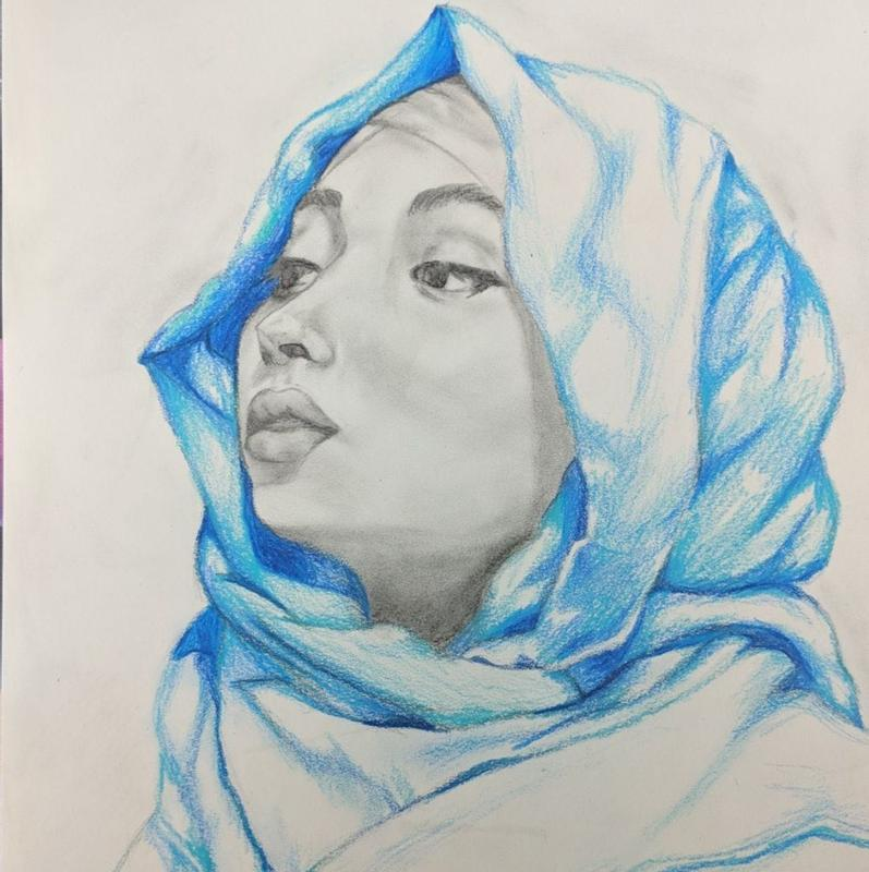 A drawing of a young, grey shaded Somali woman wearing a bright blue, silk hijab draped over her head and across her shoulders