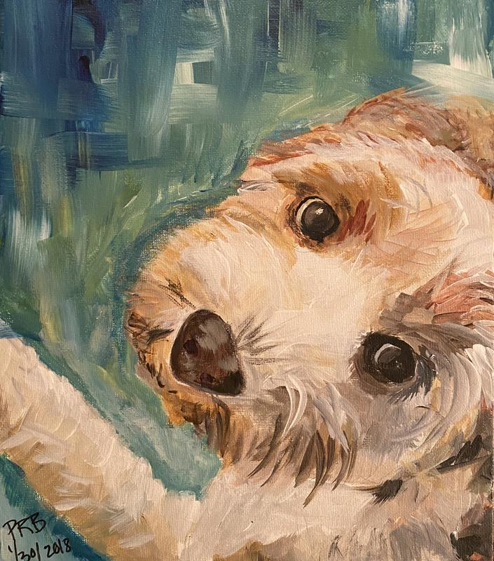 A painting of a puppy with a soft young coat of mixed light hair, looking up, eyes fixed on the viewer.