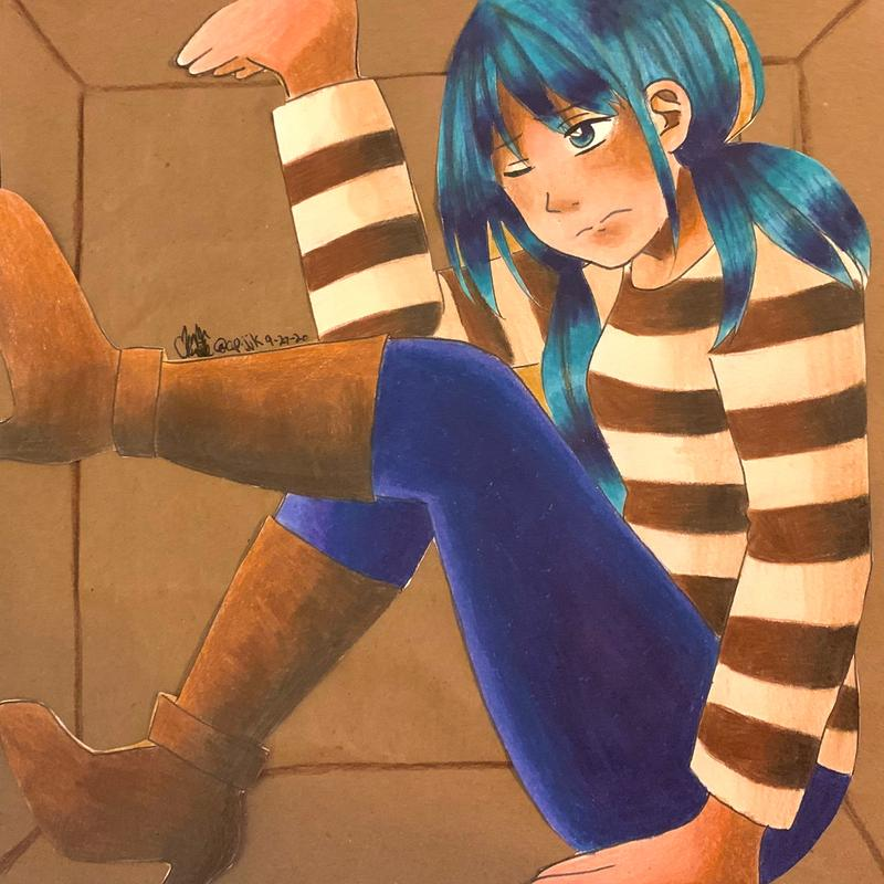 A drawing of a girl with teal hair trapped in a brown cardboard box, trying to push herself out.