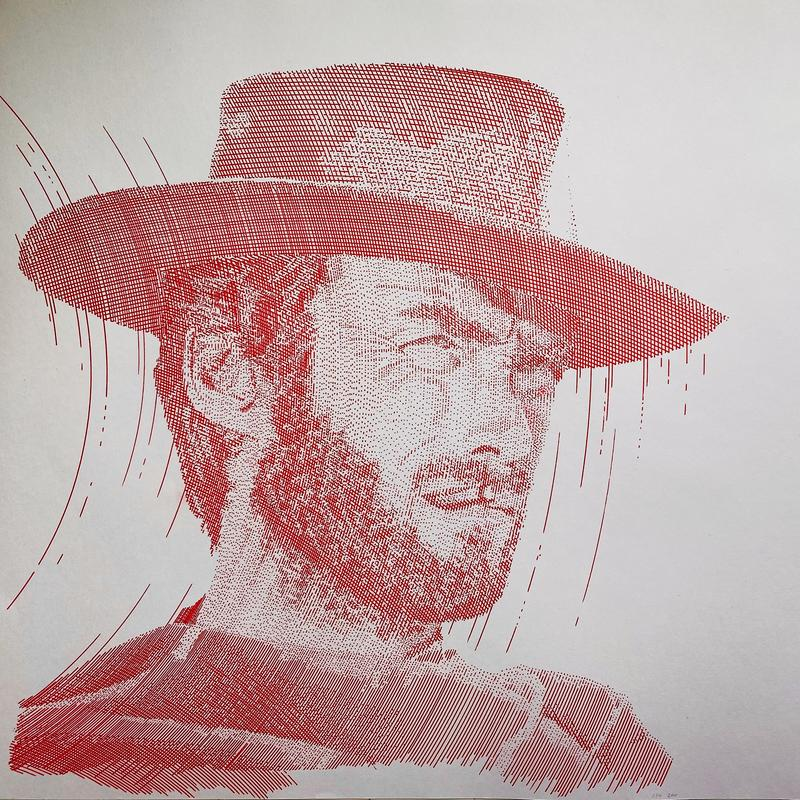 A portrait drawn on white paper, made up of red, parallel, arching lines and dots depicting a bearded cowboy smoking a cigar whilst peering into the distance.