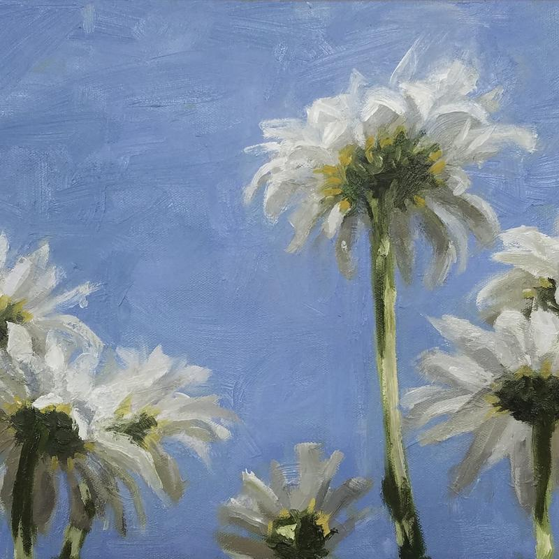 A painting of daisies viewed from below against a textured blue sky.