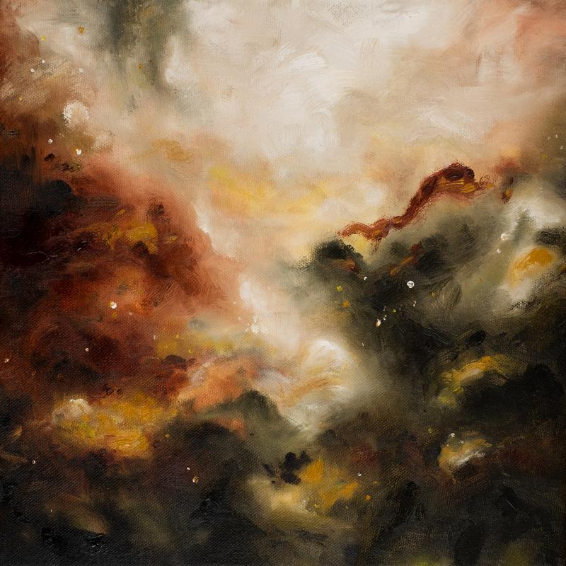 An abstract expressionist painting with dark clouds of warm colors all mixing and moving around each other, layered almost like a landscape. Thick applications of dark maroon mingle with gold, olive green, and white to create a glowing warmth.