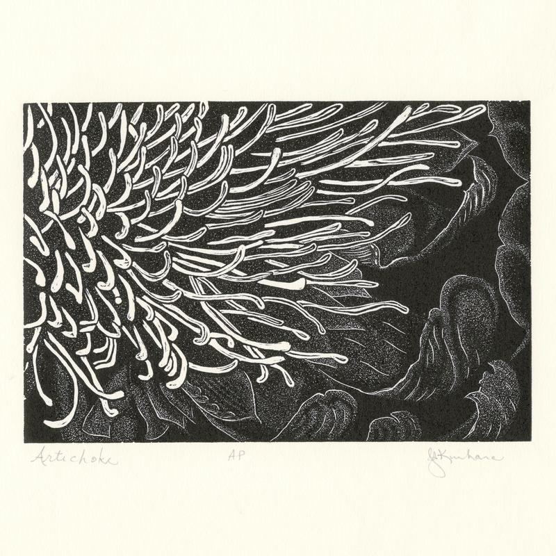 A wood engraving print of a close-up detailed view of an artichoke flower, showing the flower parts and surrounding leaves.  Black ink on cream paper.