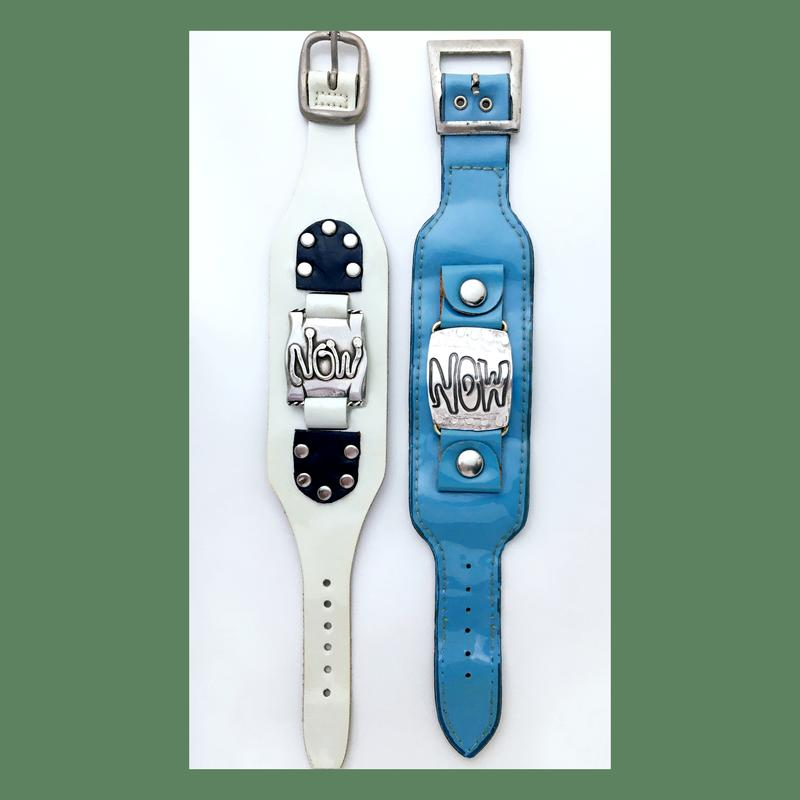Digital image of vintage watchstraps with sterling silver watch faces as reminder to live in the moment.  Two of an ongoing body work of Time Pieces by Camille Hempel.