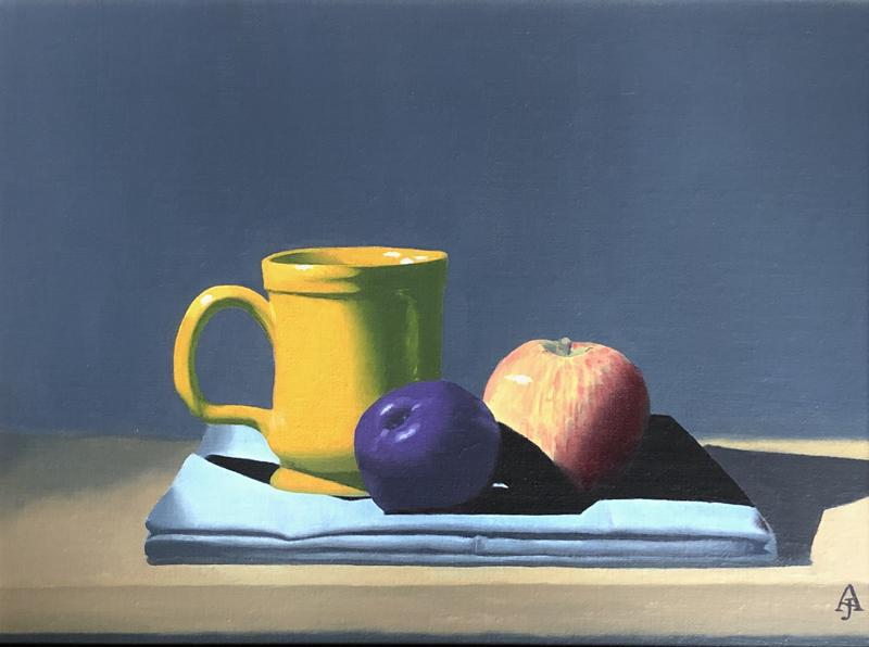 An oil painting of a deep orange, pottery mug, a red and yellow apple, and a dark purple plum, resting on a folded, bluish-gray cloth on a wooden shelf, against a gray background.