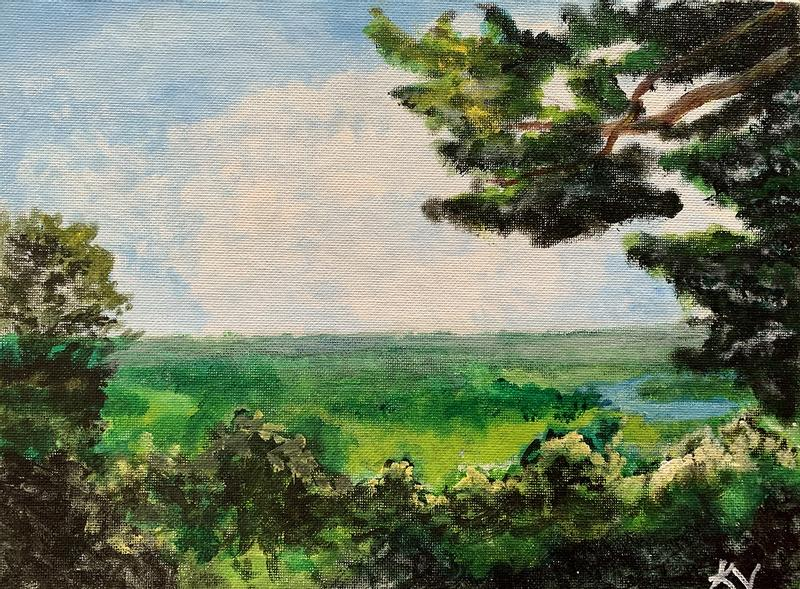Landscape painting of a cliff view overlooking Wyalusing State Park in Wisconsin.