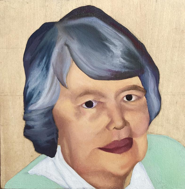 A representational portrait of the artist's grandmother. Features soft pastels and and smooth blended textures. Painted on wood block.
