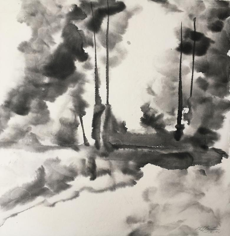 A painting in shades of black ink, showing tall deciduous trees in the distance on the left and right, with an opening between.