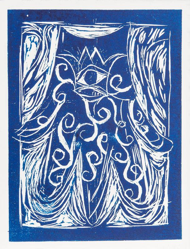 A wood engraving of The Hand (Hamsa In Hebrew) of Miriam in Royal blue.  The hand Itself contains Images of a crown and an eye