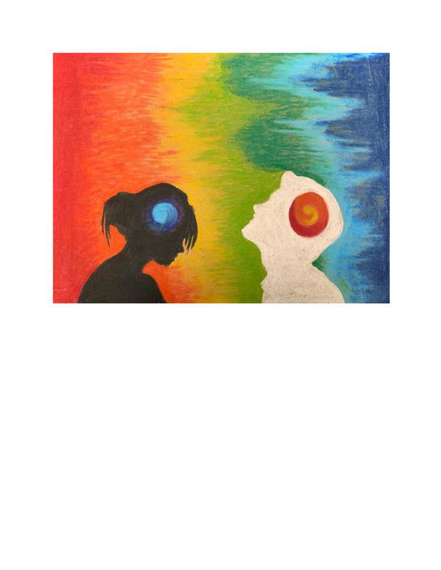 A drawing of male and female silhouettes with a swirl of color on the sides of both of their heads, with a background of a rainbow.