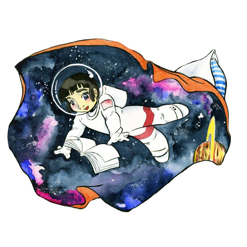 An  image of a girl transforming into a astronaut when reading a book in bed, pajamas become a spacesuit and the sheet becoming a galaxy.