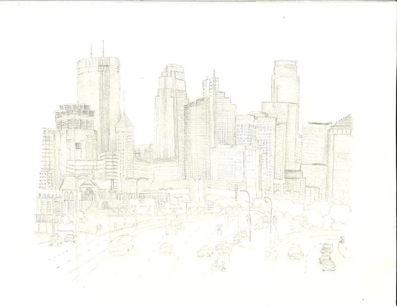 A graphite pencil sketch of the Minneapolis urban skyline architecture as viewed from the South.